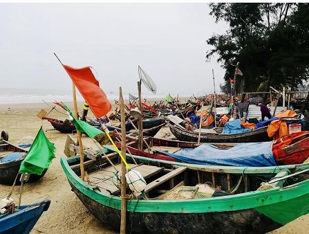 ベトナム北部・サムソンビーチ 停泊中の船
