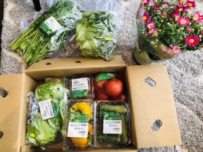 床に並んだ箱詰めの野菜セットと鉢植えのデイジー